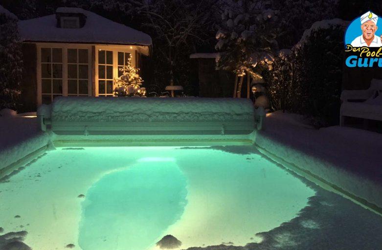 Pool Beleuchtung Winter Eisdecke