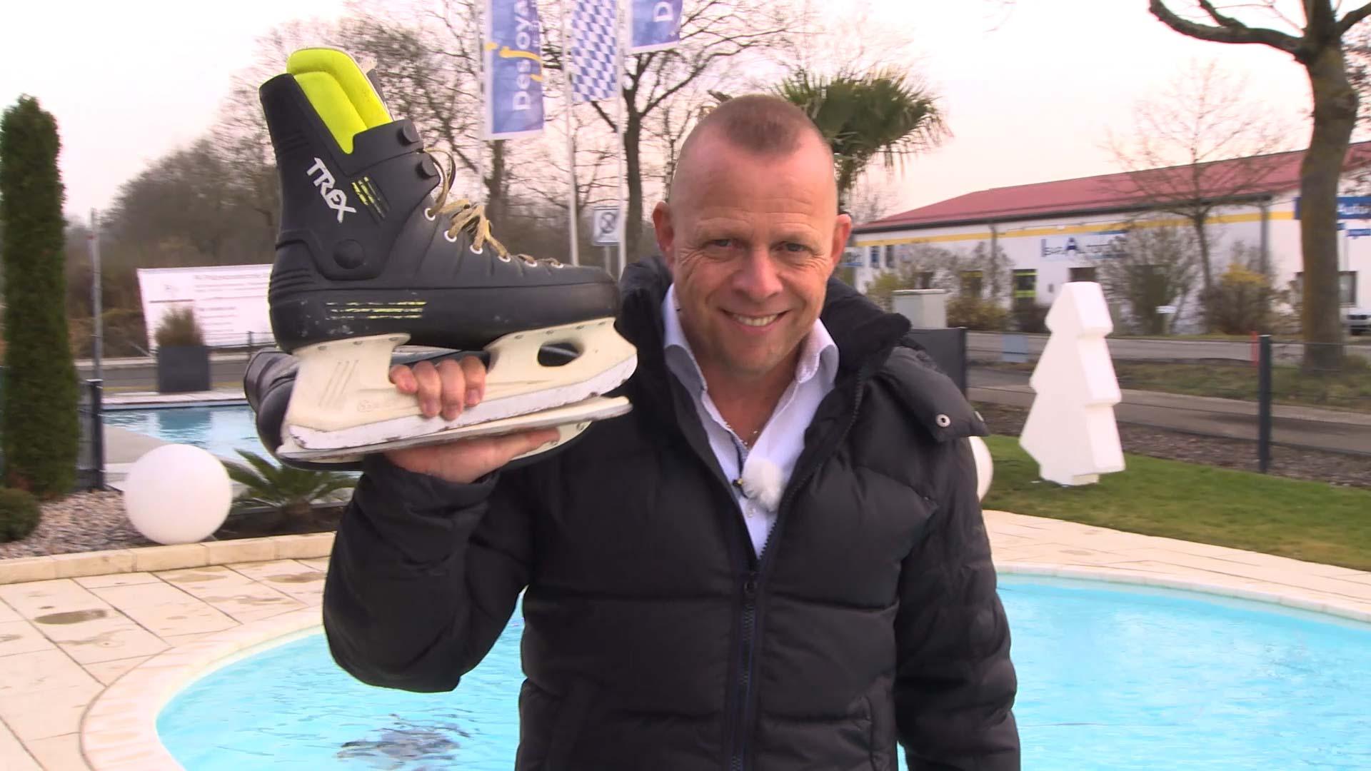 Swimming-Pool Schlittschuh laufen